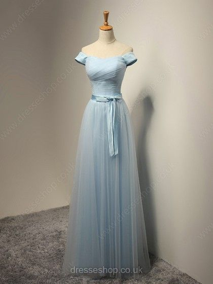 2a5fd8e95ea A-line Off-the-shoulder Tulle Floor-length Sashes   Ribbons Pretty  Bridesmaid Dresses  DS01012931