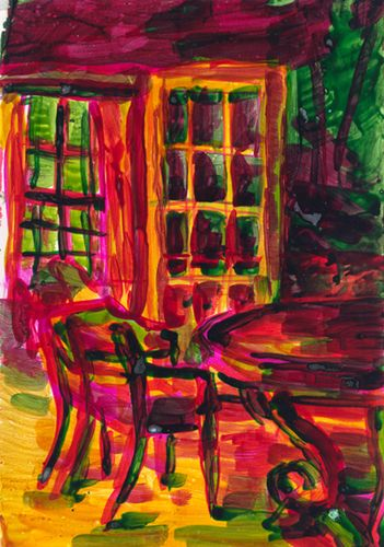 Leanne Shapton: Pink dining room, 2004. 7x10""