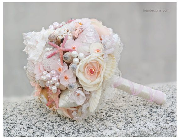 Seashells Wedding Bouquet for Beach Wedding. Chic Coral and Beige Wedding Bouquet. Beach Bouquet on Etsy, $250.87