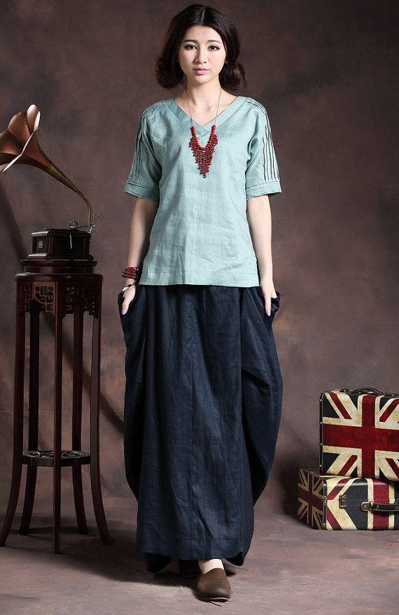 Linen Tunic TShirt Top in light blue / Dark Red tops - XL,XXL, Plus size custom A8015