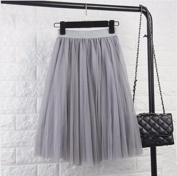 ♡ Tulle Elastic High Waist Pleated Midi Skirt ♡