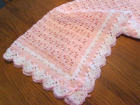 Ready To Ship Pink Baby Blanket Christening Crib Size