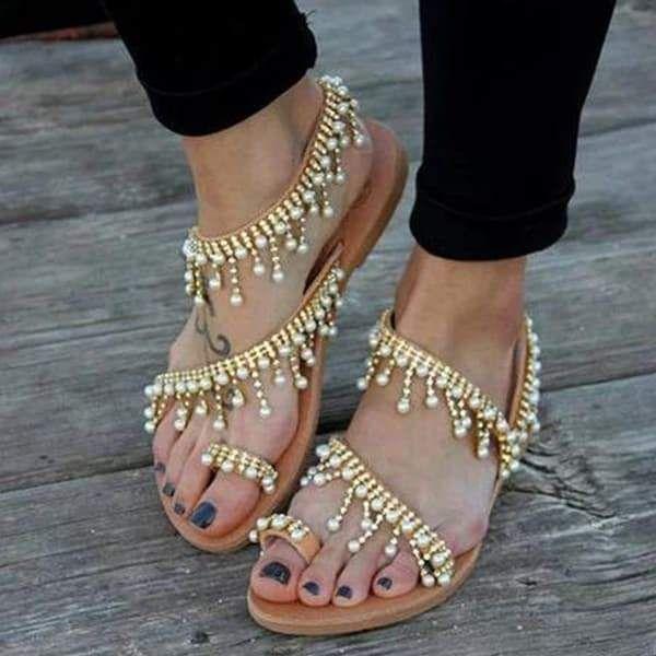 df140a842 Women Bohemian Pearl Tassel Clip Toe Beach Flat Sandals Summer Leather  Sandals Casual Pearls Shoes  sandals  shoes  pearls  fashion  boho  beach   summer ...