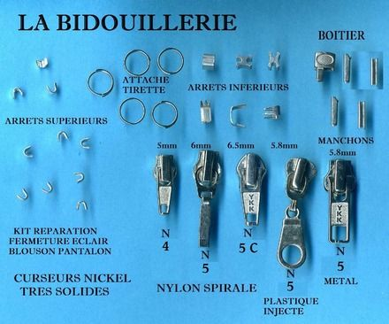Ce kit vous permet de réparer vos fermetures à glissières. il comprend 1 curseur numéro 4 pour fermeture nylon de 5 mm,1 curseur numéro 5 pour fermeture nylon de 6mm,1 curseu - 1549565