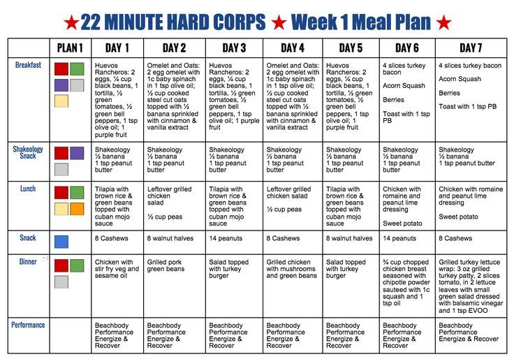 Image result for 22 minute hard corps meal plan pdf