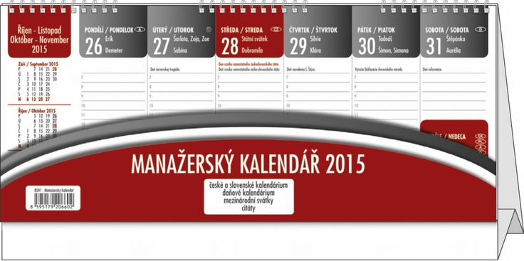 Manažerský kalendář pro rok 2015 se spoustou užitečných údajů: kalendárium: české a slovenské týdenní jmenné, mezinárodní svátky, měsíční fáze, roční období, letní a zimní čas, daňové termíny, citát na každý týden, dělená kovová spirála