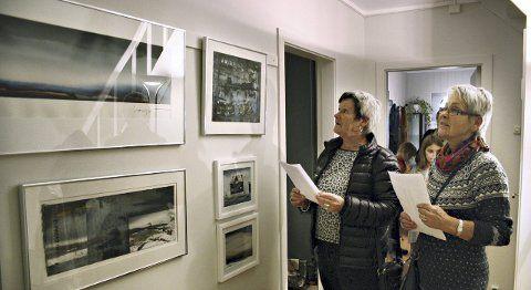 Åse Fjærli og Sylvia Dyrset studerer akvareller av Morten Gjul.Møkkelgård syntes det var mye fin kunst som var utstilt.