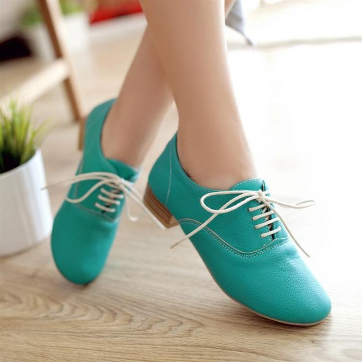 Classic Korean Style Lace Up Candy Color Shoes - Freyja