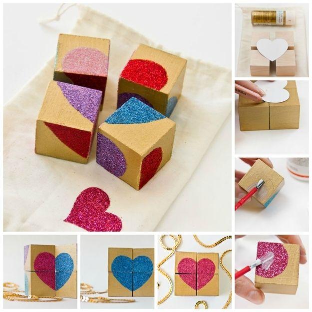 Make a block puzzle with multicolor hearts.