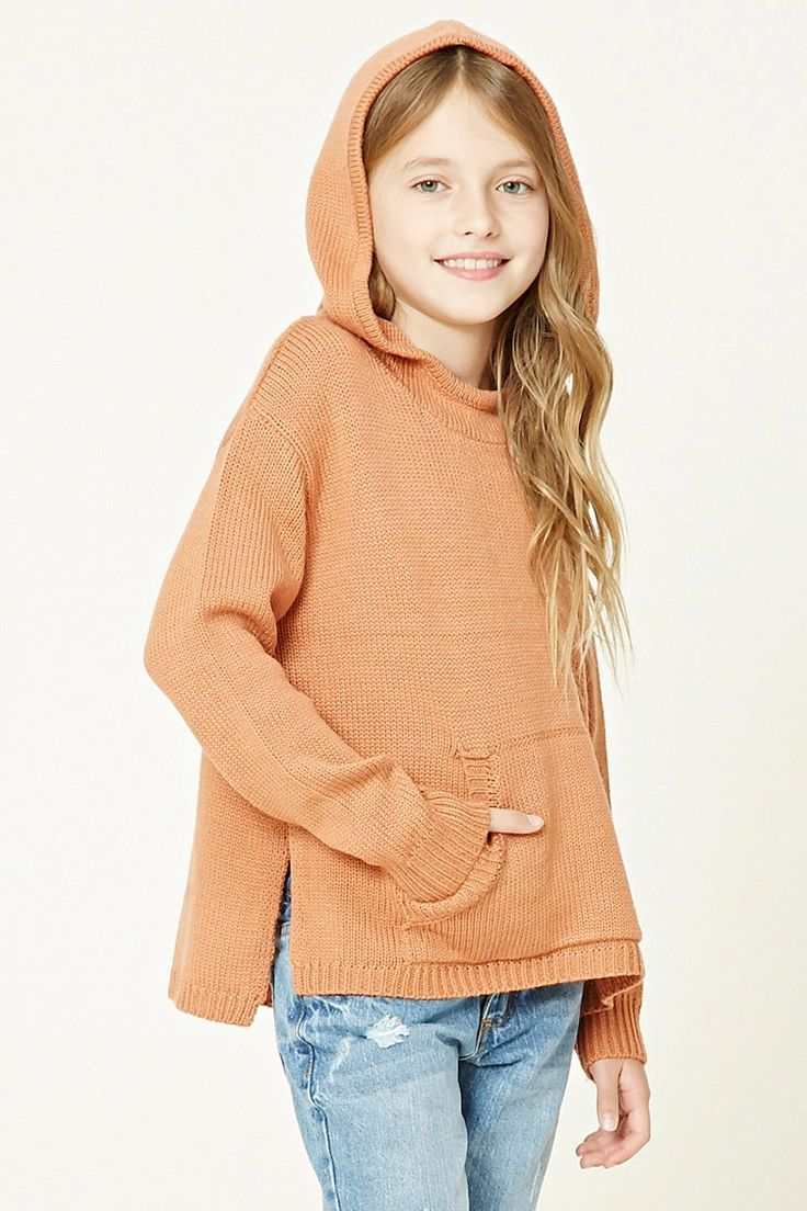 Forever 21 Girls - A ribbed knit hoodie featuring a high-low hem, kangaroo pocket, and long sleeves.