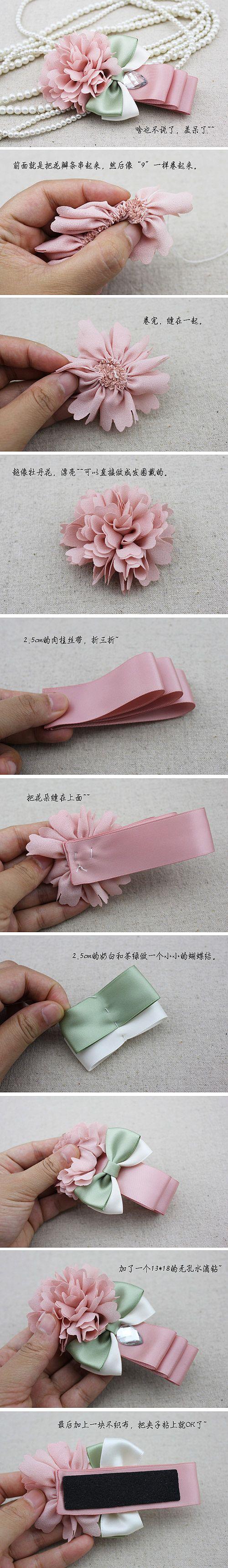 Peony flower hairpin handmade DIY