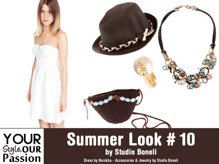 """Summer Look #10 by Studio Boneli! """"Chic and Minimal"""" Λευκό μονόχρωμο φόρεμα σε απλη γραμμή συνδυασμένο με μοναδικά αξεσουάρ σε γήινα χρώματα! Εμπνευσμένο από την απλότητα του καλοκαιριού!  #YSOP #Summertime #Fashion #Style"""