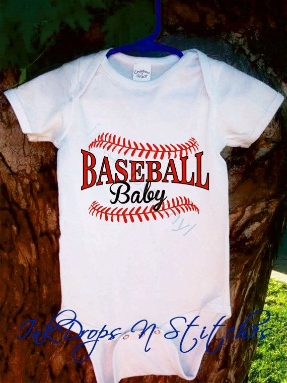 Baby Bodysuit Baseball Baby with Laces Any Color by InkDropsNVinyl, $17.99