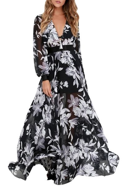 Women's Fashion Deep V-Neck Floral Print Chiffon Maxi Dress - OASAP.com