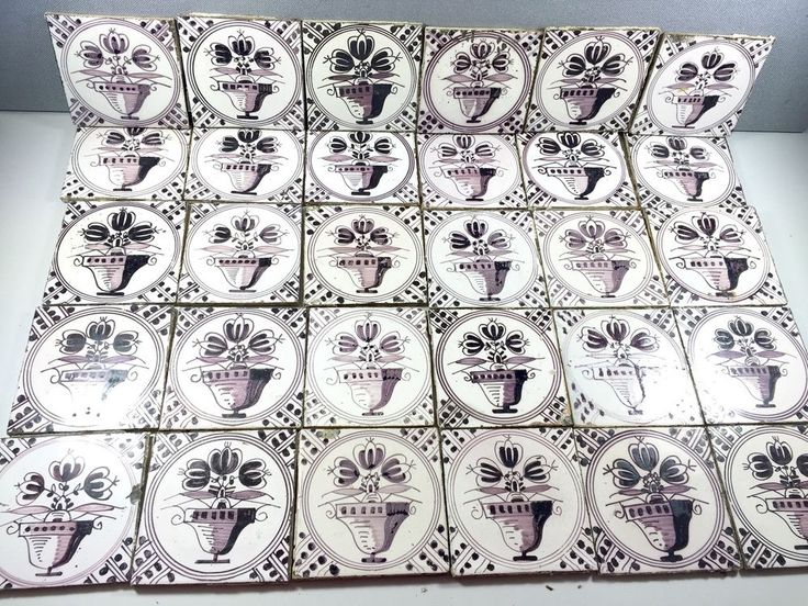 25 ANTIKE FLIESEN MANGAN BLUMENTOPF FLIESE KACHELN 1890 1910 UTRECHT HARLINGEN Antique Tiles