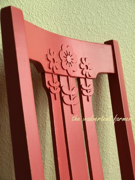 Great little idea! Foam stickers adhered to chair prior to painting...COULD DO THIS ON POTTERY OR KITCHEN CANISTERS..SO MANY THINGS