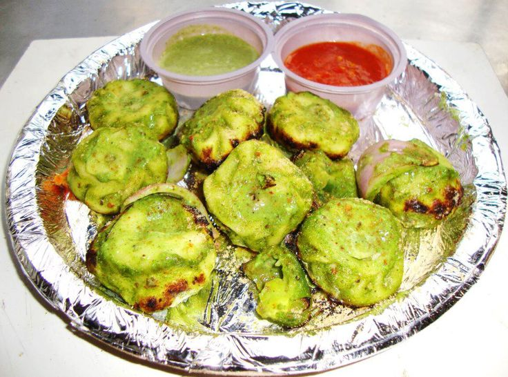 Tandoori Paneer Haryali Momo's from The Tandoori Station in West Patel Nagar Market.