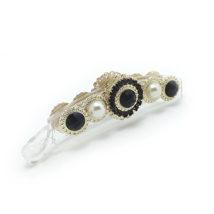 Meilliwish Noble Flower Pearl Banana Hair Clip (H48)(Black) -- Click image for more details.