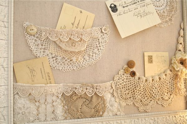 The Polka Dot Closet - beautiful bulletin board with doily and lace pockets.