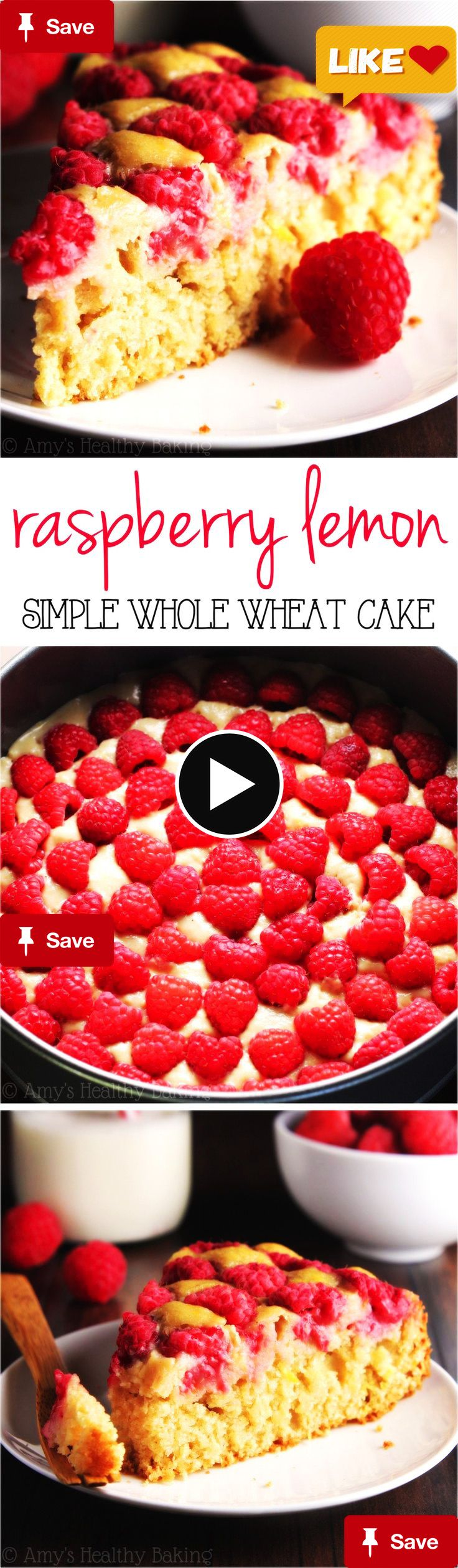 Simple Raspberry LemSimple Raspberry Lemon Cake -- SO smooth to prepare And always a huge hit! It's clean-eating And secretly healthy enough for breakfast!  this could be a great cake gift for father's day