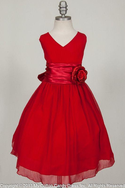 Red wrinkled chiffon Flower Girl Dress