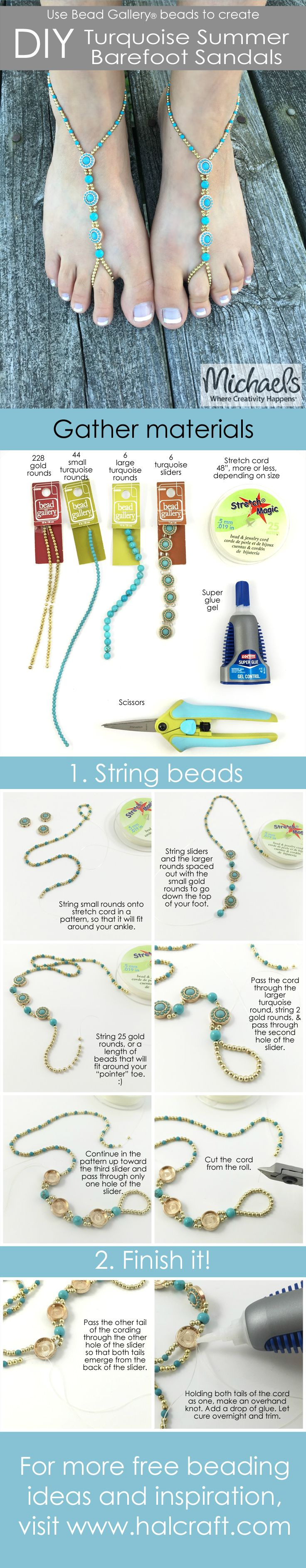 DIY Barefoot Sandals by @missmollys featuring Bead Gallery beads available at @michaelsstores #madewithmichaels