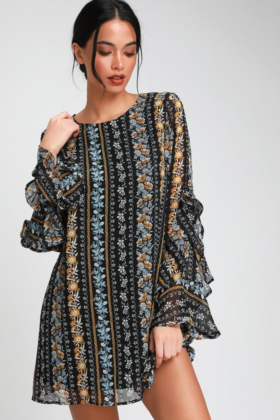 8d6a0590d94a Lovely chiffon floral print long sleeve shift dress. It's time for your  moment in the sun in the Lulus My Moment Black Floral Print