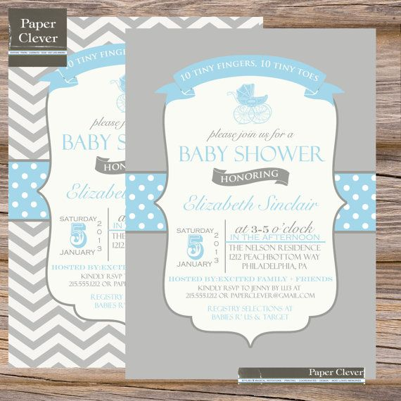 Blue Carriage Baby Shower Invitation