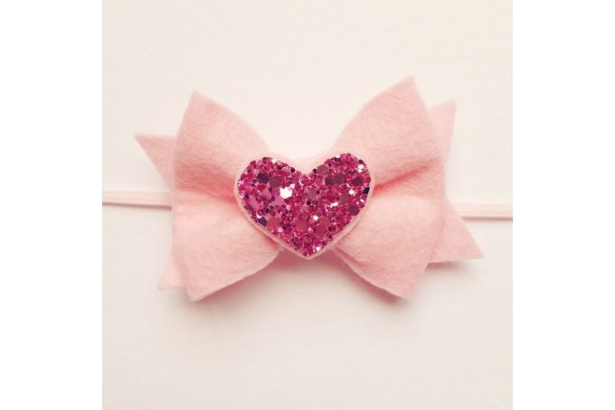 Felt bow with glitter heart headband by Dash Of Cute