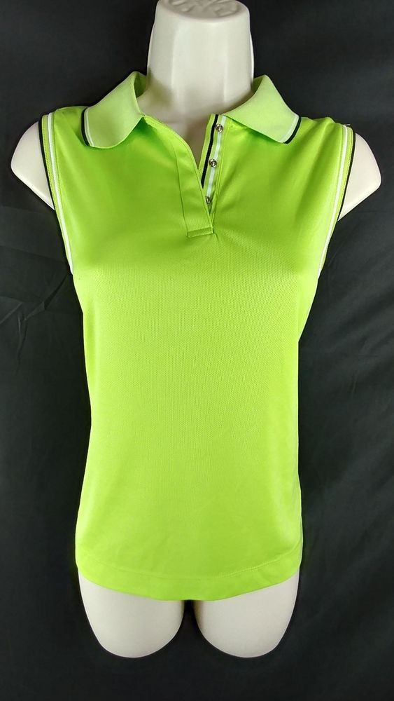 """~Green/yellow neon, sleeveless, polo golf shirt. Made of performance fabric. 100% Polyester. ~EP Pro. ~Ladies Size S – 36"""" around the bust. From the top of the shoulder, to the very bottom of the hem, the length is 23"""" long. 