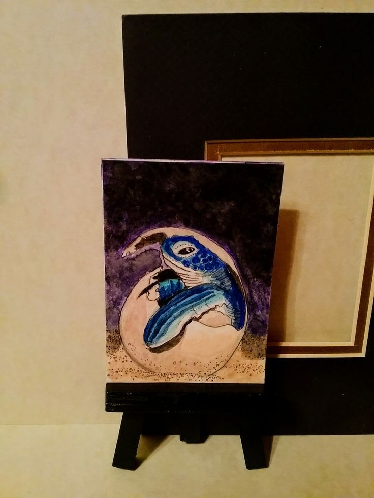 ACEO gouache and ink piece, Sea Turtle hatching by Herbie Hasbrouck Jr.