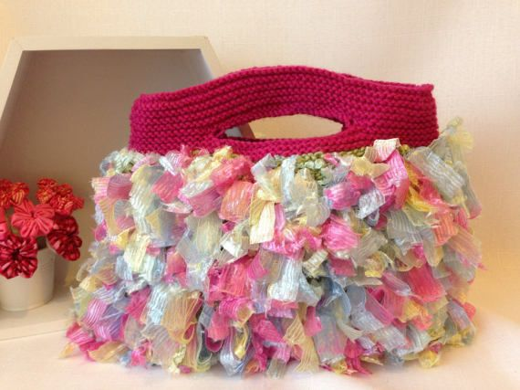 Varigated Pink and Blue Yarn and Ribbon Knitted Handbag by ByDebz