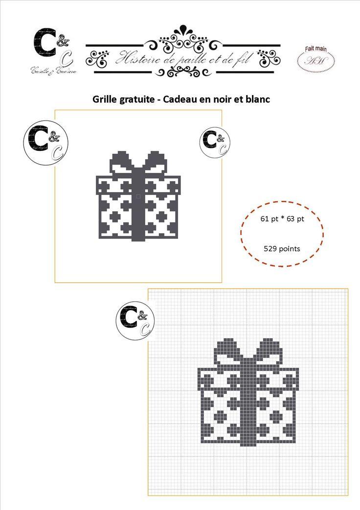Grille gratuite point de croix - Cadeau en noir et blanc