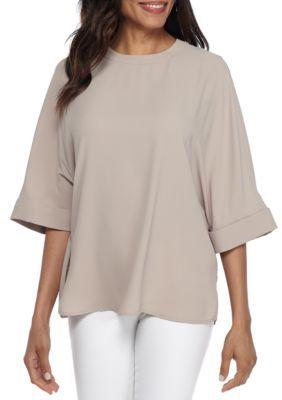 Anne Klein Women's Mixed Media Oversize Crew Shirt - Dark Oyster - 16