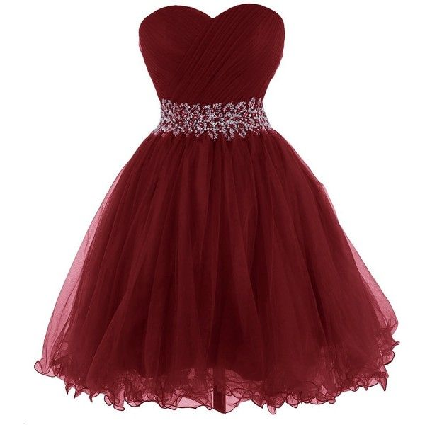 Tidetell 2015 Strapless Royal Blue Homecoming Beaded Short Prom... ($99) ❤ liked on Polyvore featuring dresses, gowns, prom dresses, red evening gowns, red gown, beaded gown and red homecoming dresses