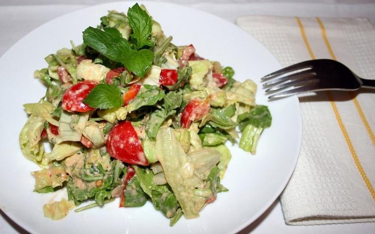 insalata condita con crema al mango, piatto finale