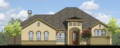 Split Bedroom Mediterranean-Style House Plan with Large Rear Porch - 25407TF thumb - 01