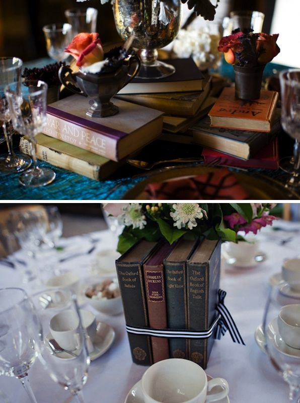 Library inspired tablescape. This is a great idea but make sure your guests know these are not to be taken. I had this happen at a wedding not more than 2-weeks ago!