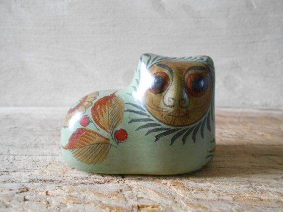 Tonala cat, mid century Mexican cat with human face Mexico cat signed JP,  collectible hand painted ceramic cat figurine.