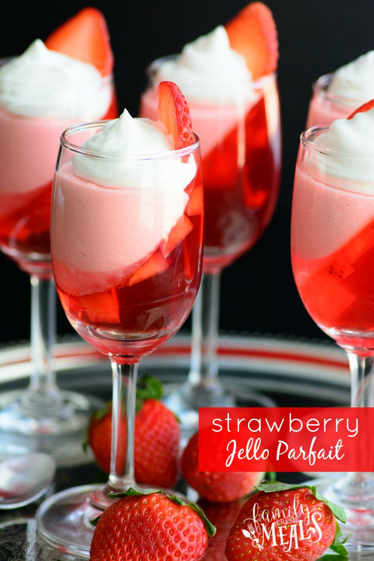 This Strawberry Jello Parfait may look fancy, but it's actually really simple to make, and makes the perfect Valentine's Day treat!
