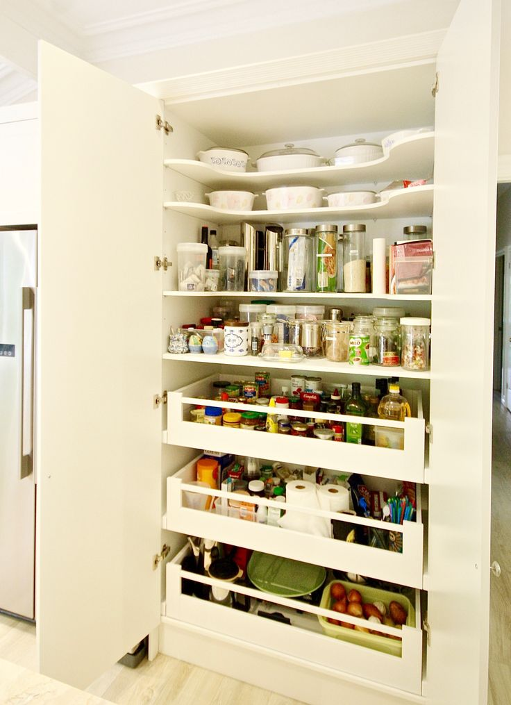 PANTRY. Blum soft closing drawers, shaped adjustable shelving for easy access to top section. #kbecastlehill #kitchensbyemanuel #kitchenideas #pantryideas #ideas #custom #local #storage #practical #drawers