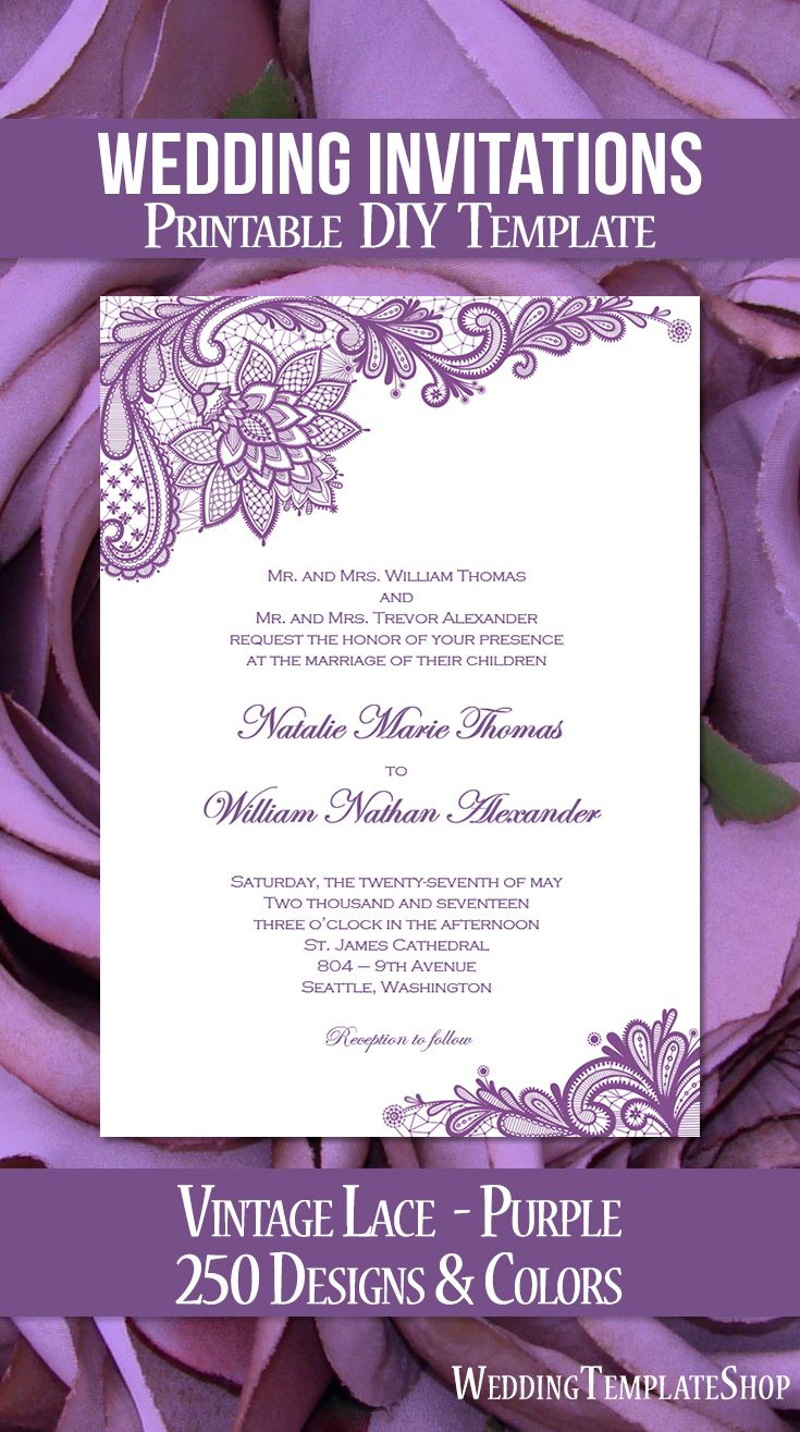 vintage lace wedding invitation purple in 2020