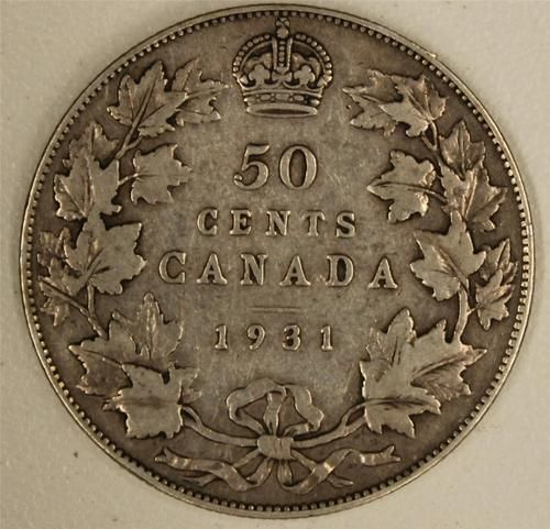 1931 Canada 50 Cents VG/F    Nice Original Coin