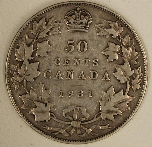 1931 Canada 50 Cents VG/F    Nice Original Coin