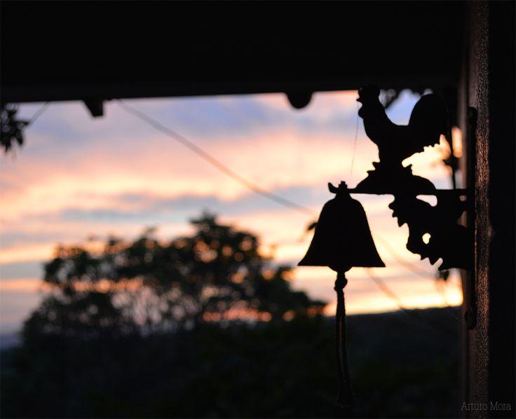 Contraluz. Gallo de Metal . Casa de mi abuela en San Isidro de Grecia. Foto: Arturo Mora.