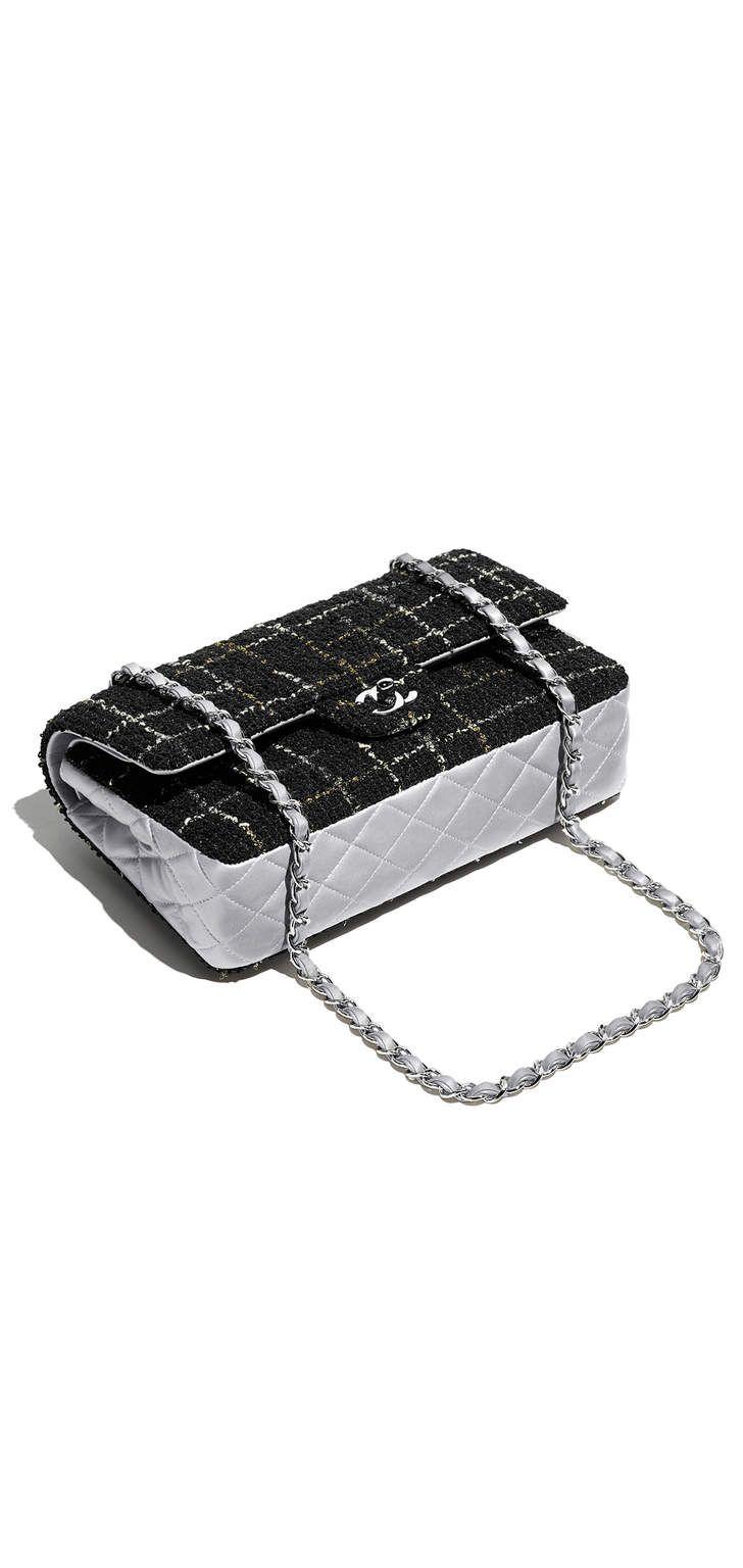 классическая сумка-конверт, твид, металлизированная кожа ягненка и серебристый металл-черный, золотистый и серебристый - CHANEL ШАНЕЛЬ