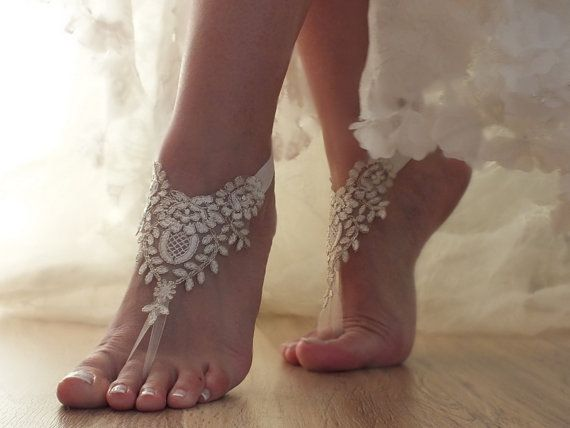 ivory gold  frame Beach, wedding barefoot sandals, Ivory Barefoot Sandals, Sexy, Anklet , Bellydance, Steampunk, Beach Pool