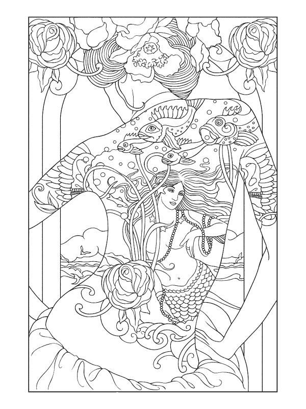 Tattooed Oriental Lady Adult Coloring Pages Coloring