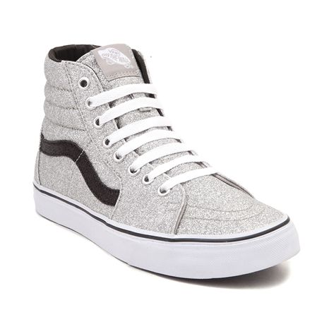 Everything's better with glitter! Sparkle and shine with the new Ski Hi Glitter Skate Shoe from Vans, featuring sturdy, synthetic uppers with glitter finish, and signature side stripe. <b>Available for shipment in June; pre-order yours today! Only available at Journeys and SHI by Journeys!</b>  <br><br><u>Features include</u>:<br> > Synthetic upper with glitter finish and signature side stripe<br> > Padded collar provides comfort and ankle support<br> > Lace closure offers a secure fit<br…