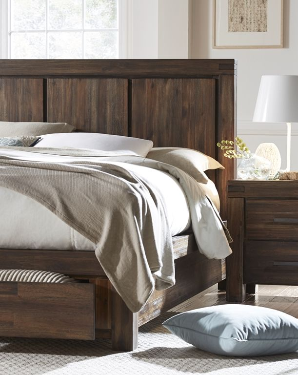 Meadow Collection Storage Bed. Made From Solid Acacia In A Lustrous Brick  Brown Finish.
